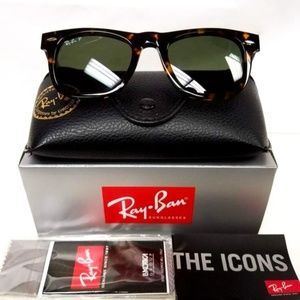 NEW Ray Ban Wayfarer Polarized Tortoise Sunglasses